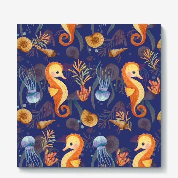 Холст «Золотые морские коньки в синем море»
