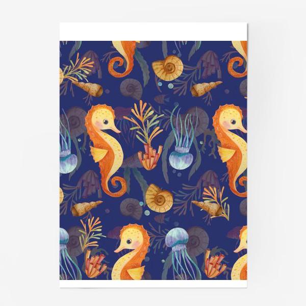 Постер «Золотые морские коньки в синем море»
