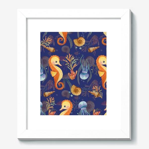 Картина «Золотые морские коньки в синем море»