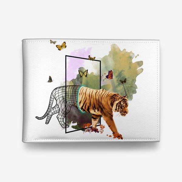 Кошелек «Приход Тигра - Коллаж с акварелью в японском стиле»
