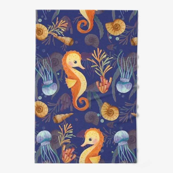 Полотенце «Золотые морские коньки в синем море»