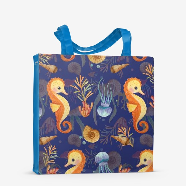 Сумка-шоппер «Золотые морские коньки в синем море»