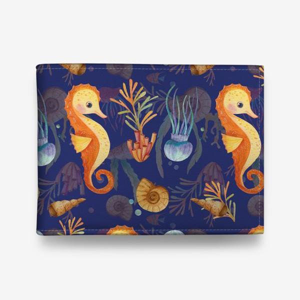Кошелек «Золотые морские коньки в синем море»