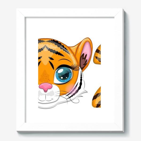 Картина «Тигровая надпись 2022 с мордочкой тигренка»