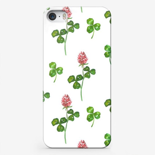 Чехол iPhone «Pattern With Watercolor Clover»