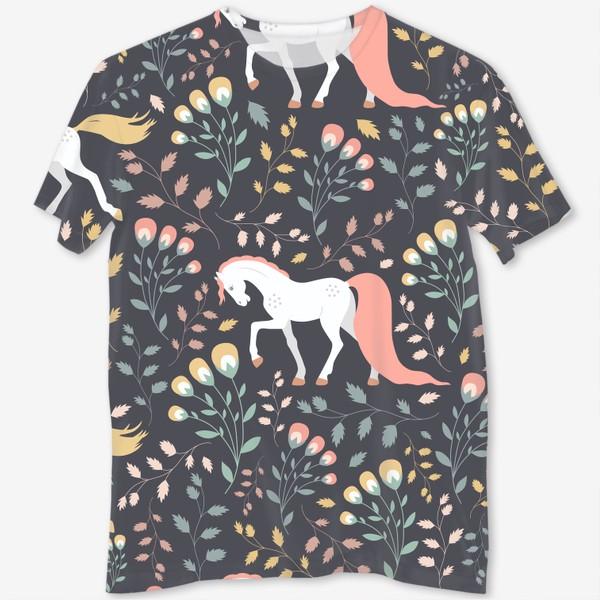 Футболка с полной запечаткой «Паттерн, красивые лошади на фоне цветов и растений»