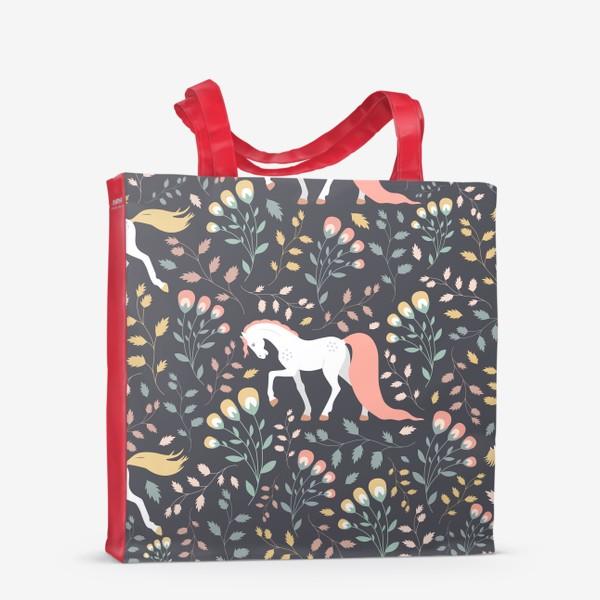 Сумка-шоппер «Паттерн, красивые лошади на фоне цветов и растений»