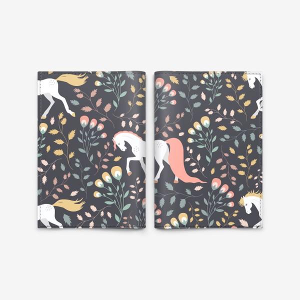 Обложка для паспорта «Паттерн, красивые лошади на фоне цветов и растений»