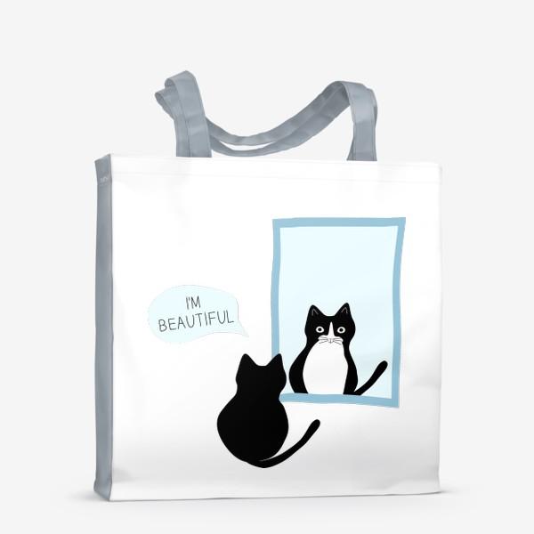 Сумка-шоппер «Милый черно-белый кот и зеркало. Мысли кота: «Я прекрасен»»