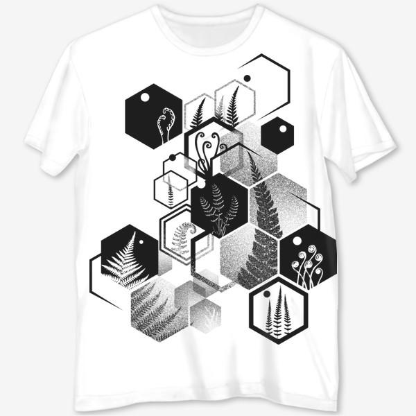 Футболка с полной запечаткой «Hexagon Ferns»