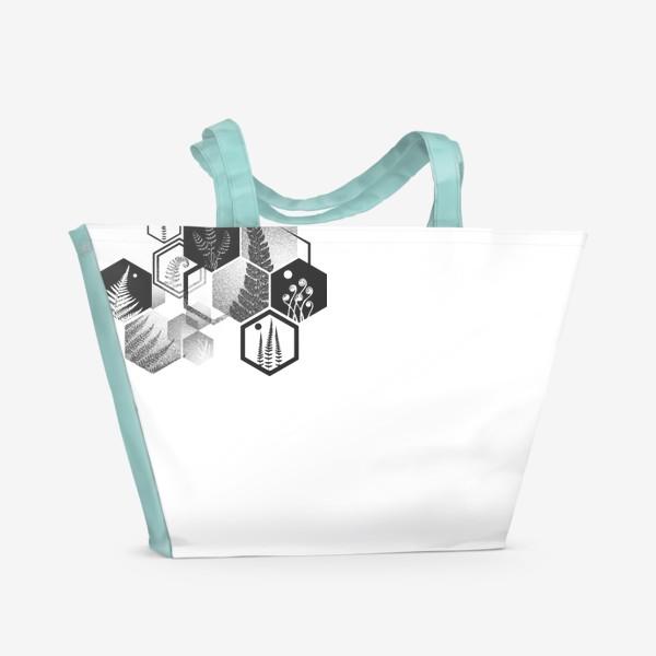 Пляжная сумка «Hexagon Ferns»