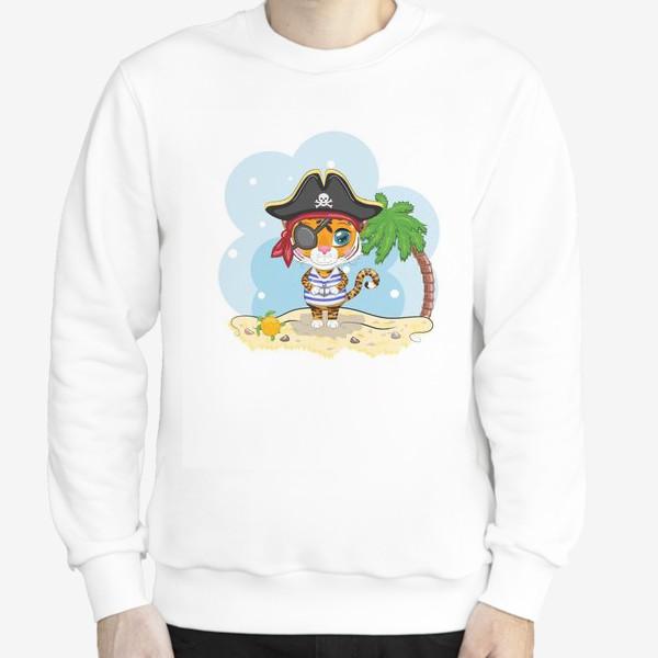 Свитшот «Тигр-пират на острове с пальмой »