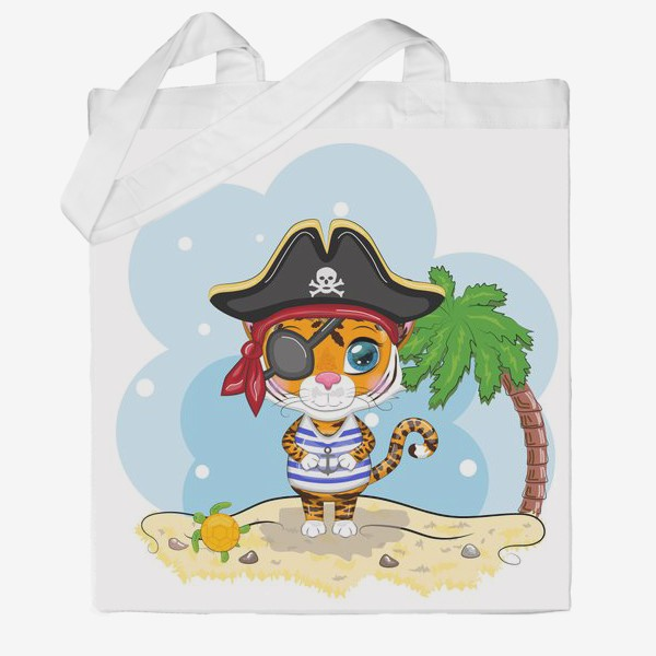 Сумка хб «Тигр-пират на острове с пальмой »