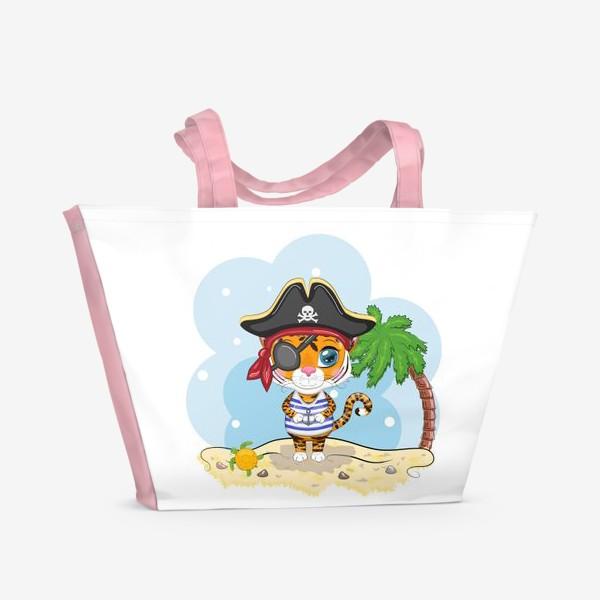 Пляжная сумка «Тигр-пират на острове с пальмой »