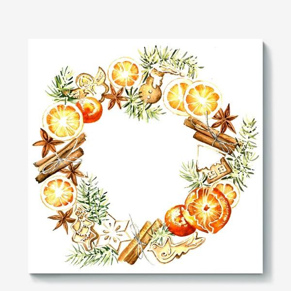 Холст «Новогодний венок оранжевый»