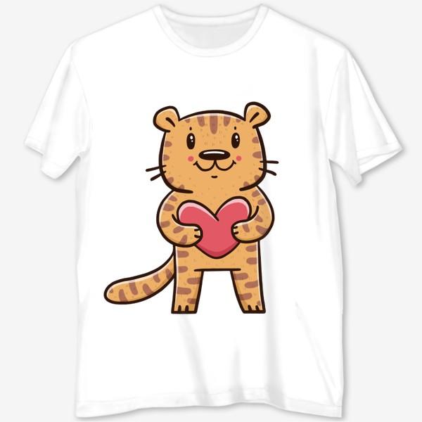 Футболка с полной запечаткой «Милый тигрёнок с сердечком. Новый год 2022. Год тигра»