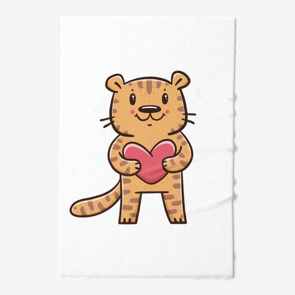Полотенце «Милый тигрёнок с сердечком. Новый год 2022. Год тигра»