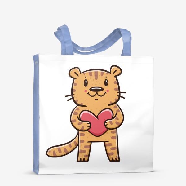 Сумка-шоппер «Милый тигрёнок с сердечком. Новый год 2022. Год тигра»