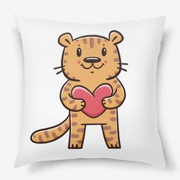Подушка «Милый тигрёнок с сердечком. Новый год 2022. Год тигра»