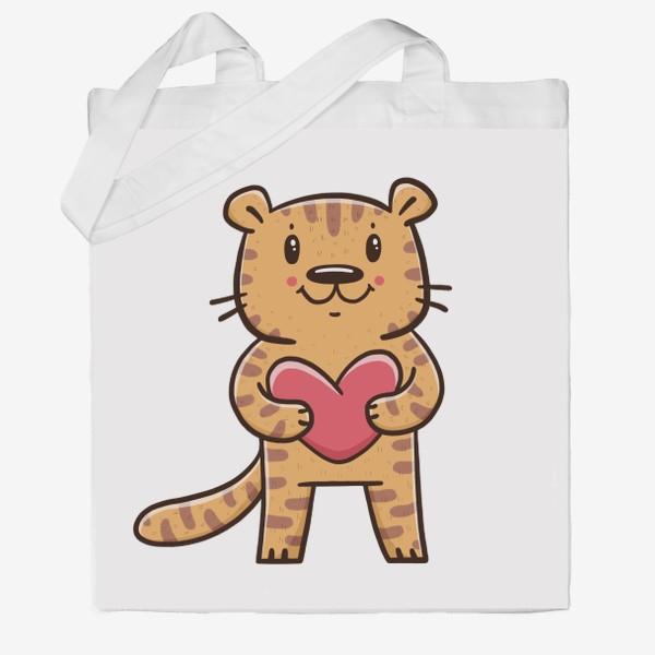 Сумка хб «Милый тигрёнок с сердечком. Новый год 2022. Год тигра»