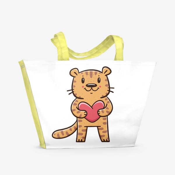 Пляжная сумка «Милый тигрёнок с сердечком. Новый год 2022. Год тигра»