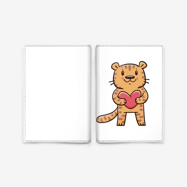 Обложка для паспорта «Милый тигрёнок с сердечком. Новый год 2022. Год тигра»