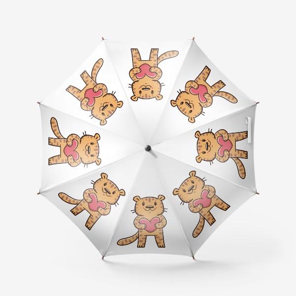 Зонт «Милый тигрёнок с сердечком. Новый год 2022. Год тигра»
