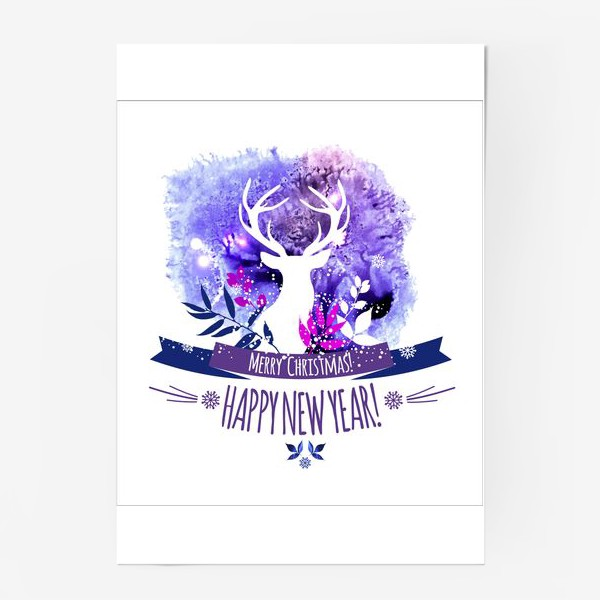 Постер «Рождественский дизайн с оленем»