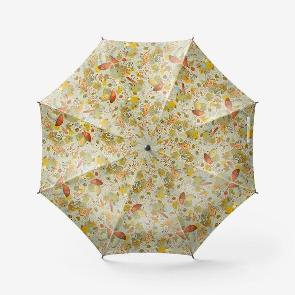 Зонт «Грибы. Лесной осенний паттерн.»