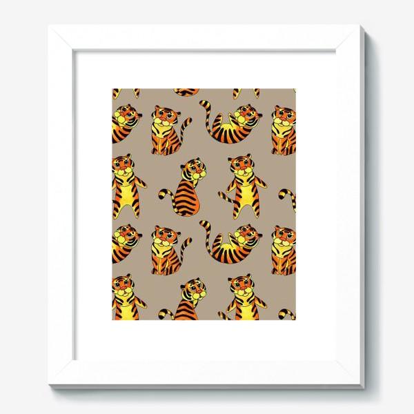 Картина «Акварельные тигрята на бежевом фоне»