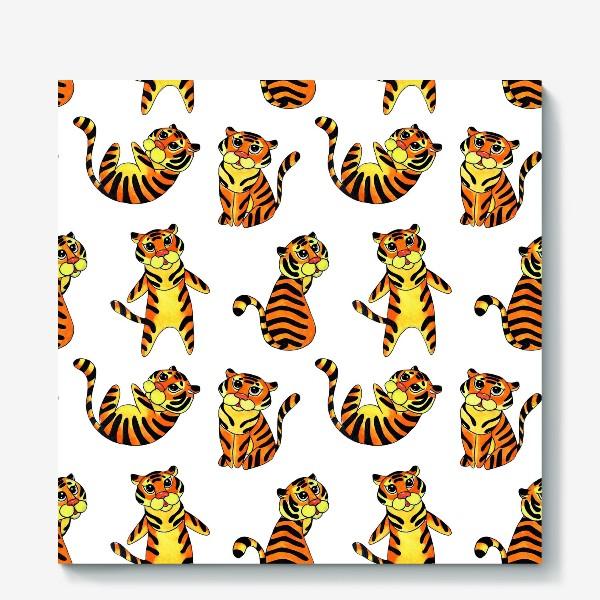 Холст «Акварельные тигрята на белом фоне»