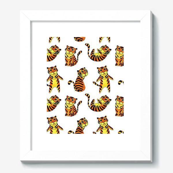 Картина «Акварельные тигрята на белом фоне»