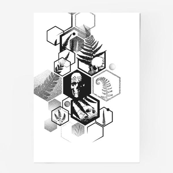 Постер «Hexagon Ferns Tattoo»
