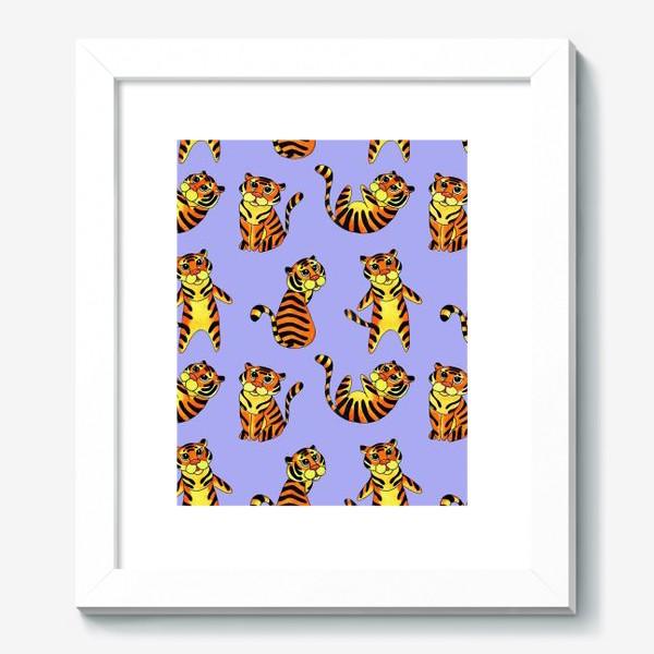 Картина «Акварельные тигрята на сиреневом фоне»