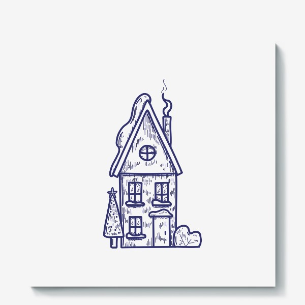 Холст «Зимний домик»