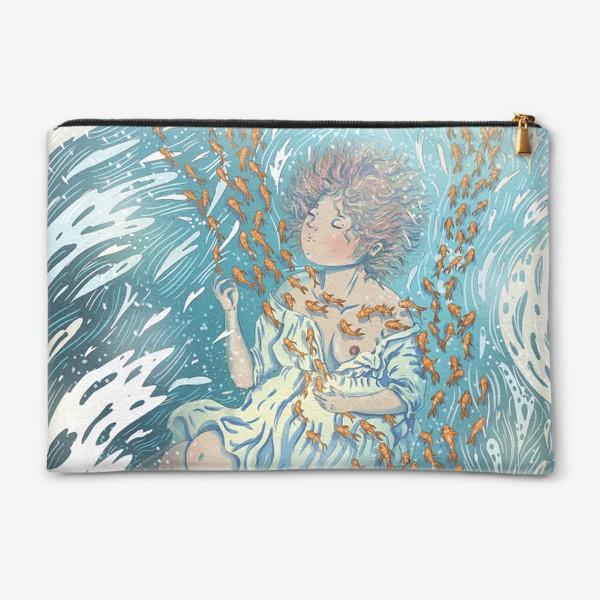 Косметичка «Девушка в воде с рыбками»