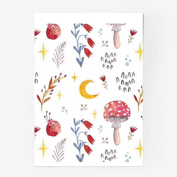 Постер «Цветы паттерн FLOWERS грибы»