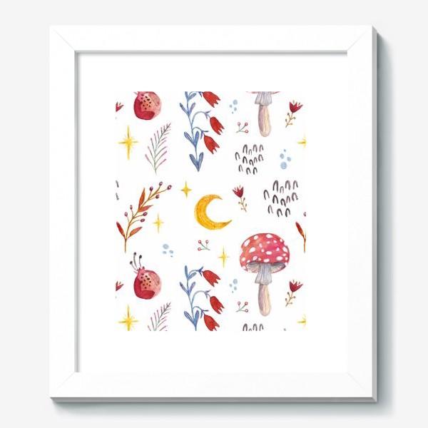 Картина «Цветы паттерн FLOWERS грибы»