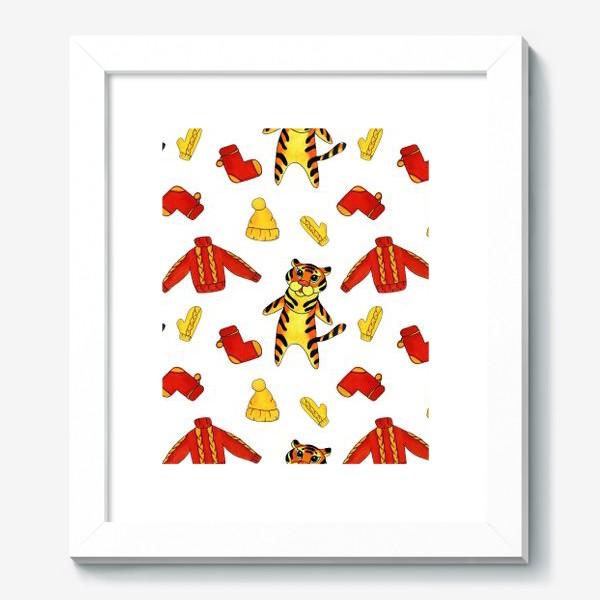 Картина «Модный тигрёнок на белом фоне»