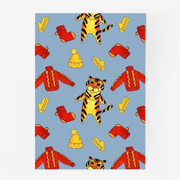 Постер «Модный тигрёнок на голубом фоне»