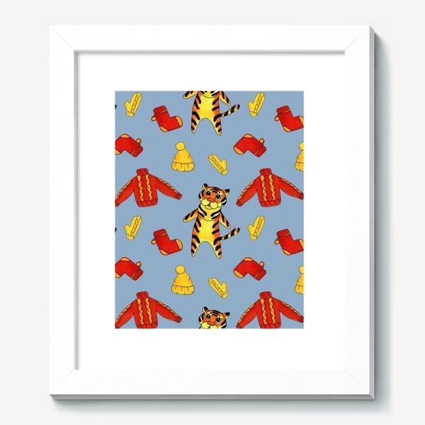 Картина «Модный тигрёнок на голубом фоне»