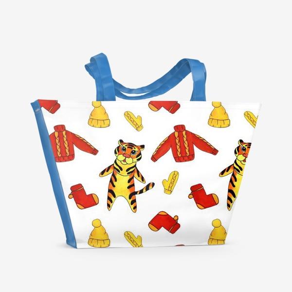 Пляжная сумка «Модный тигрёнок на белом фоне»
