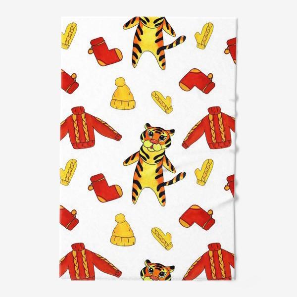 Полотенце «Модный тигрёнок на белом фоне»