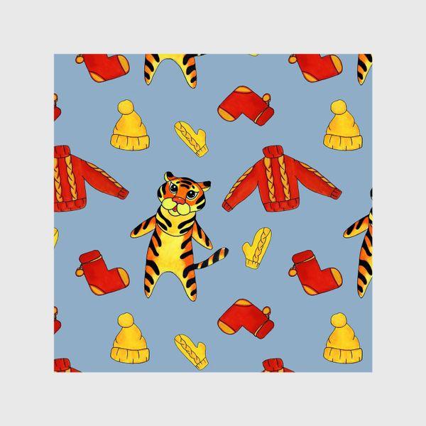 Шторы «Модный тигрёнок на голубом фоне»