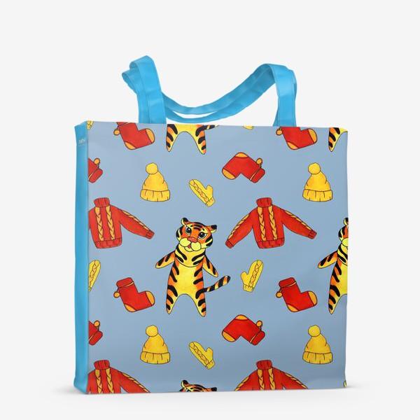 Сумка-шоппер «Модный тигрёнок на голубом фоне»