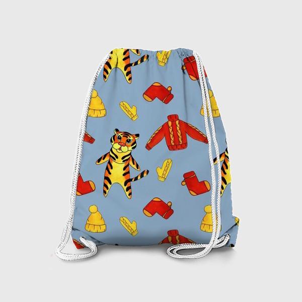 Рюкзак «Модный тигрёнок на голубом фоне»