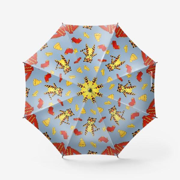 Зонт «Модный тигрёнок на голубом фоне»