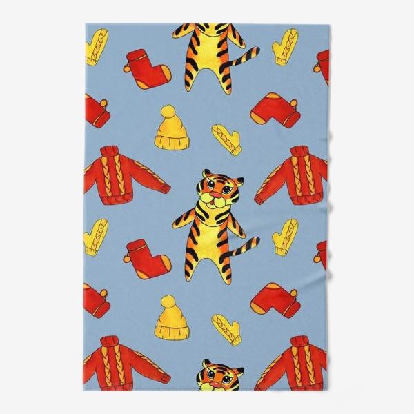 Полотенце «Модный тигрёнок на голубом фоне»