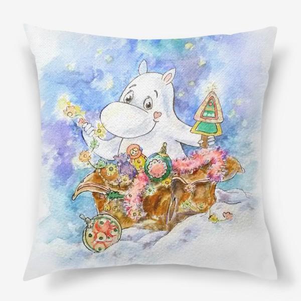 Подушка «Новогодний  Мумми-тролль »