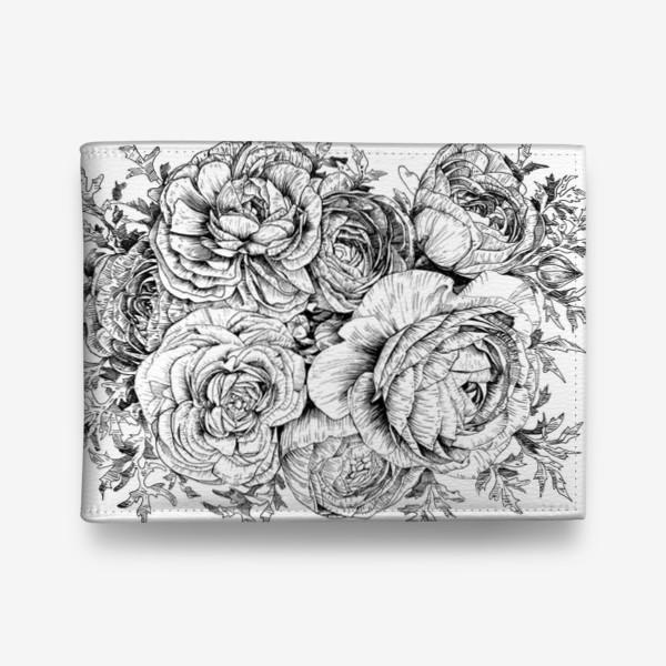 Кошелек «Ранункулюсы. Черно-белые цветы»